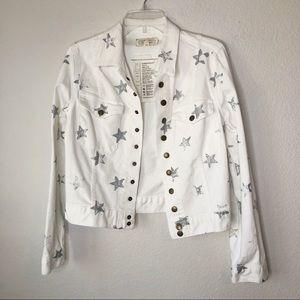 Current/Elliot white star print denim jacket